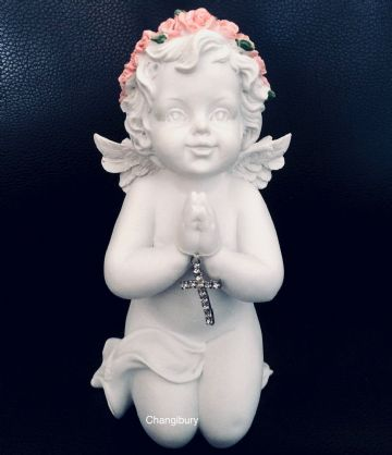 Cherub Praying with Jewelled Cross WING OUT PINK ROSE LARGE CHE122